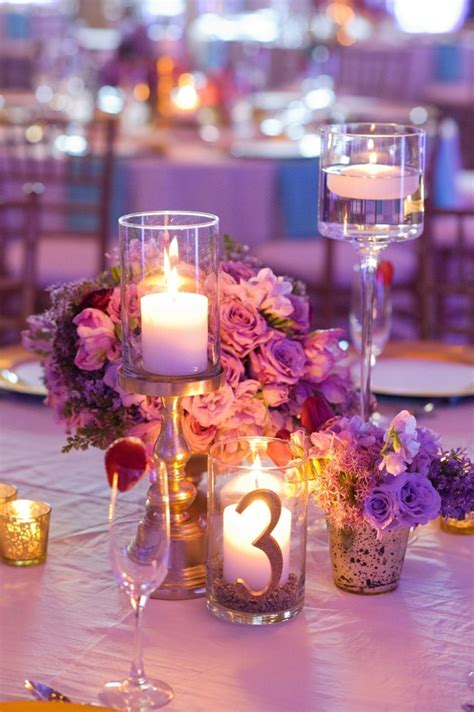 Chic Gold Aqua And Lavender Wedding Candle Wedding