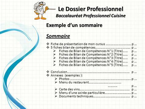 dossier bac pro cuisine fiche bilan de competences bac pro cuisine 28 images