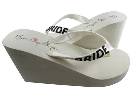 Bride Wedge Flip Flops, Ivory Black Glitter, Wedge Flip