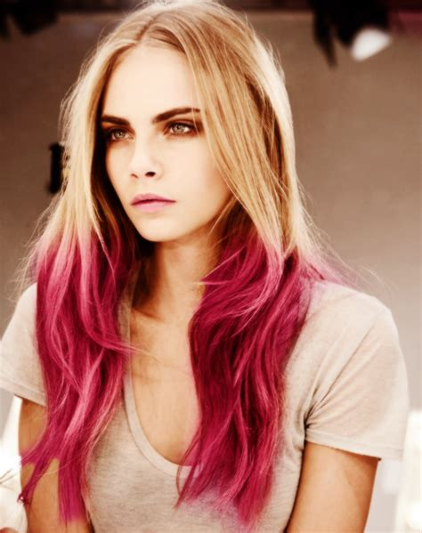 Pink Ombre Dip Dyed Pastel Hair On Cara Delevingne Dyed
