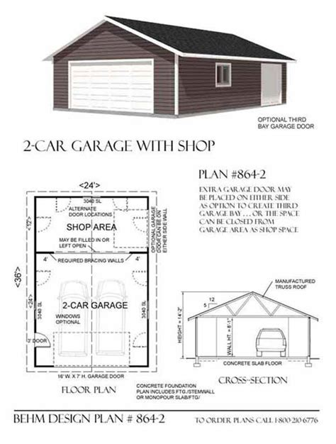 Style X Shop by Two Car Garage With Rear Bay Shop Plan 864 2 24 X 36