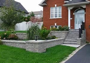 amenagement exterieur facade maison a sherbrooke profil With pierre pour allee de jardin 8 mur de pierre muret de pierre exterieur profil jardins