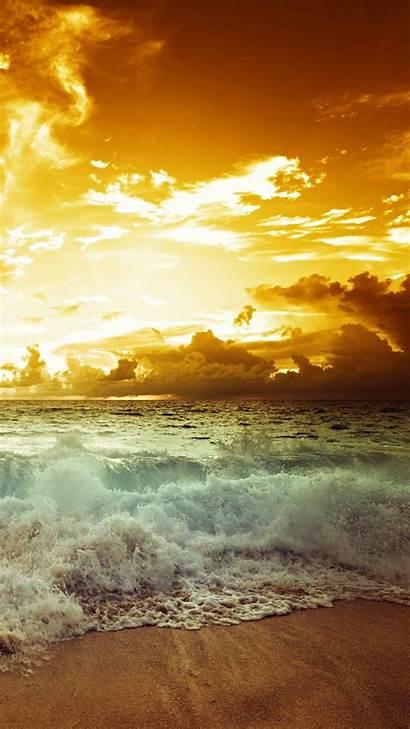 Landscape Sunset Waves Sky Sea Nature Clouds