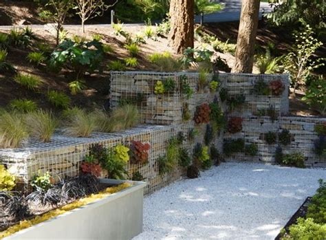 Gabion Wall With Plants