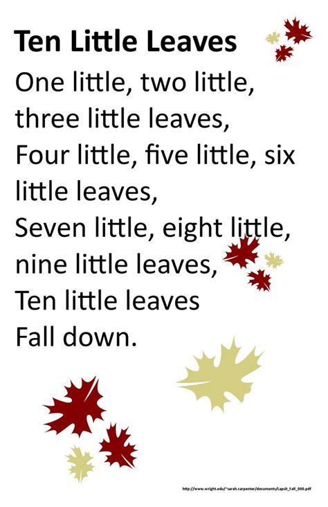 itty bitty rhyme ten  leaves fall preschool