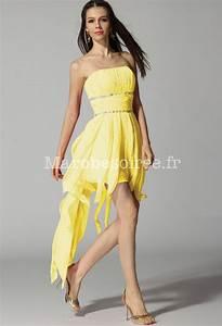 robe de soiree en mousseline asymetrique a volant tombant With robe de cocktail combiné avec bracelet hipanema jaune