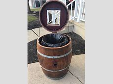 Wine Barrel Trash Can Holder Buffalo Barrel Company