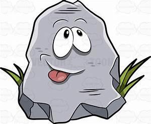 A Cartoon Rock Poking His Tongue Out Cartoon Clipart ...