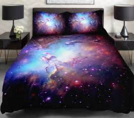 3d duvet cover printing galaxy on blue sheets and outer space bedding set bedspread with 2 silk