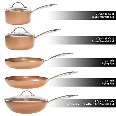 buy  pc cookware set   layer nonstick ceramic coating tempered glass lid copper color