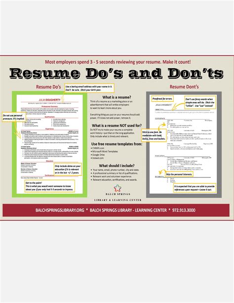 Resume Dos And Donts by Resume Dos And Don Ts Jpg
