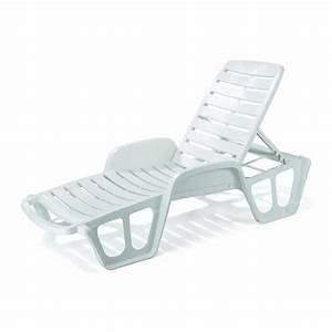 Chaise Longue Bain De Soleil : lit bain soleil monobloc blanc proloisirs achat vente chaise longue lit bain soleil ~ Mglfilm.com Idées de Décoration