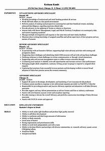 Advisory Specialist Resume Samples
