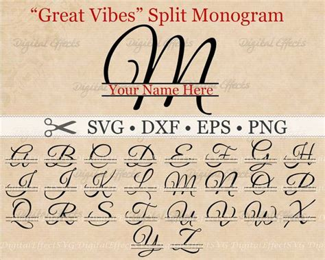 great vibes split letter monogram svg dxf eps png files split script font monogram svg