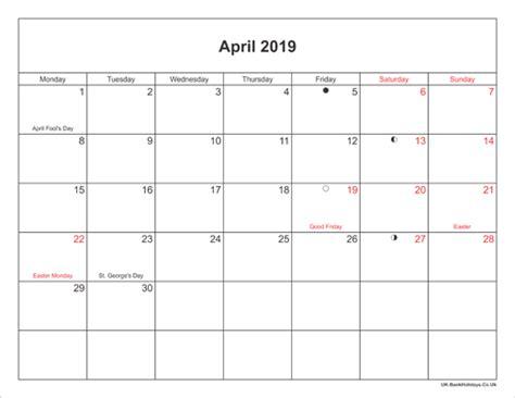printable april  holidays calendar moon phase