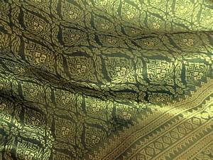 Thai brocade ONE yard of faux silk fabric in olive green and