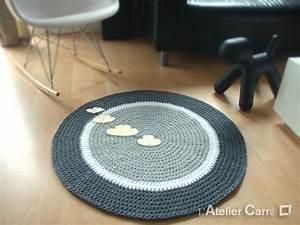 Tapis Blanc Rond : tapis rond personnalisable en laine avec sujets en relief l 39 atelier carr ~ Dallasstarsshop.com Idées de Décoration