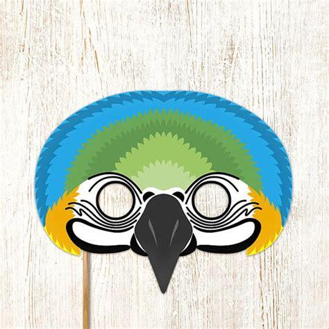 macaw parrot bird mask printable animal masks paper blue