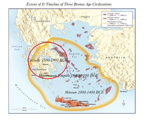 Map Minoan and Mycenaean Cultures