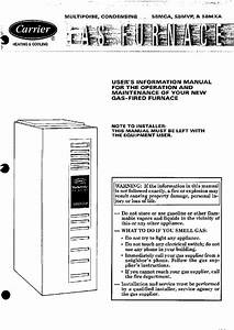 Carrier Deluxe 58mvp Thermostat User U0026 39 S Information Manual