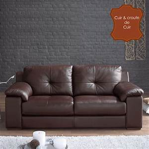 canape cuir 3 places fixe buffalo chocolat With boutique canape cuir
