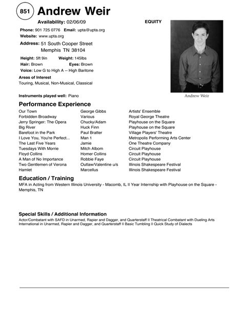 Resume Templates For Beginners by 11 Beginner Acting Resume Template Sles Resume Ideas