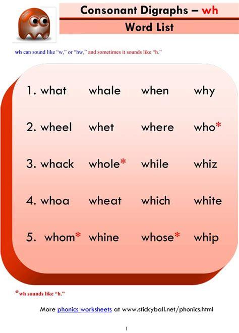 consonant digraphs wh word list  sentences