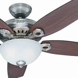 Hunter quot brushed nickel ceiling fan w light kit