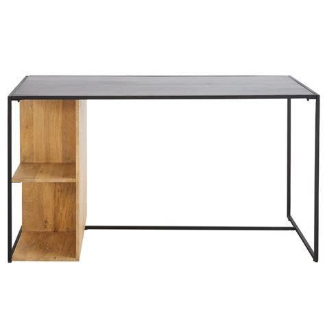 bureau en metal bureau wayi en métal noir et manguier massif bureau maisons du monde ventes pas cher com
