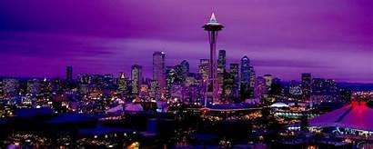 Monitor Dual Seattle Night Desktop Wallpapers Purple