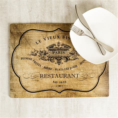 harman le vieux bistro cork backed placemat set   natural kitchen stuff