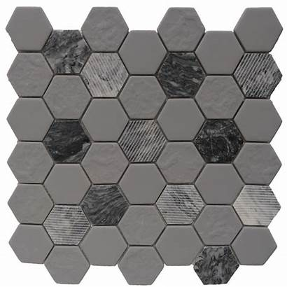 Tile Hexagon Mosaic Granite Stone Gray Marble