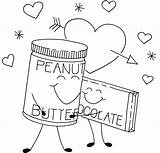 Butter Coloring Peanut Chocolate Jelly Embroidery Cartoon Patterns Girlscoloring Template sketch template