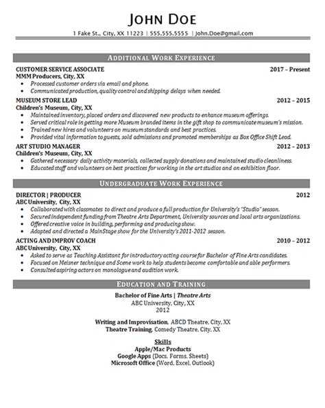theater resume  entertainment production fine