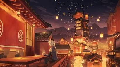 Anime Festival Traditional Boy Lanterns Buildings Scenic