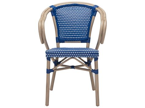 zuo outdoor aluminum wicker dining arm chair in navy