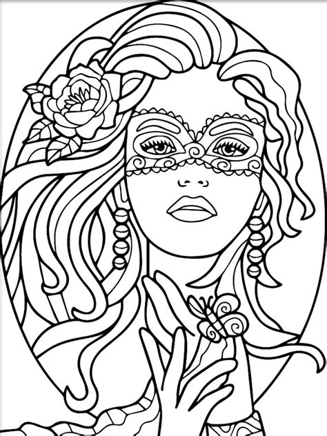 Masquerade colouring page | Witch coloring pages, Coloring