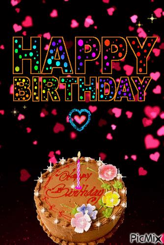 falling heart happy birthday cake gif pictures
