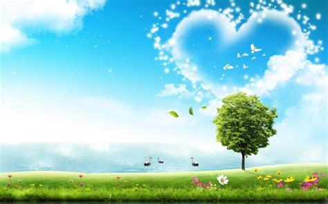 Herz, Landschaft, See, Baum Hd