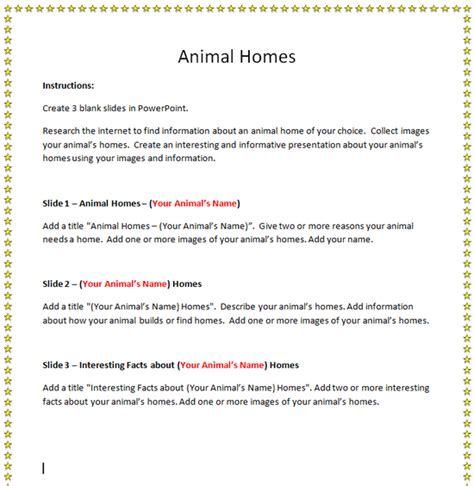 animal homes powerpoint activity   computer lab