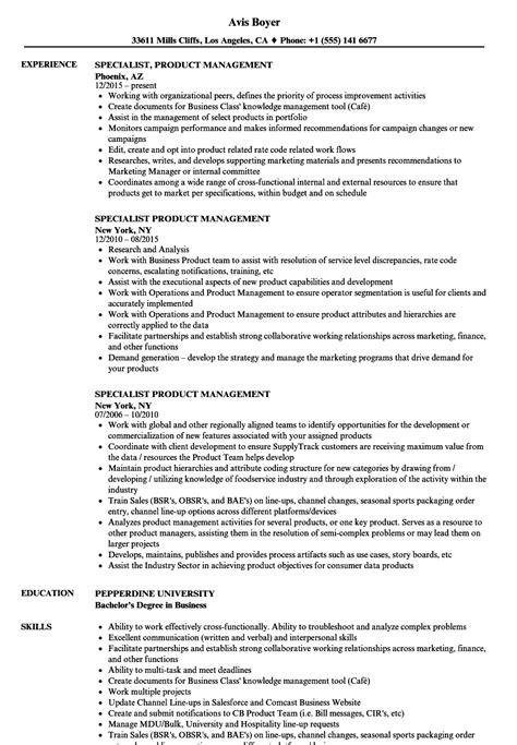 specialist product management resume sles velvet