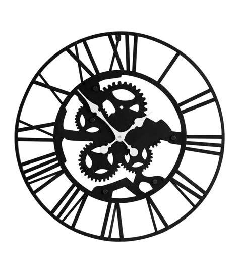 pendule murale de cuisine grande horloge murale ronde en métal noir style industriel