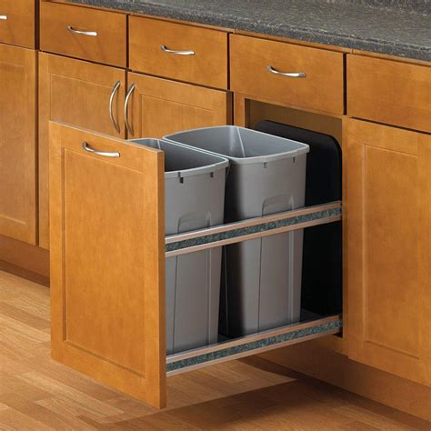 in cabinet trash can roll out knape vogt 18 in h x 15 in w x 22 in d plastic in
