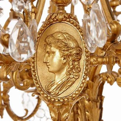 Bronze Antique Gilt French Neoclassical Chandelier Chandeliers