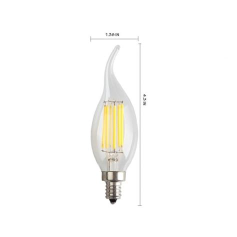 6 pack 6w dimmable led filament candle light bulb daylight