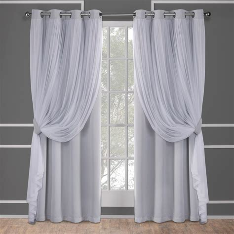 Grey Drapery Panels by Catarina 52 In W X 84 In L Layered Sheer Blackout