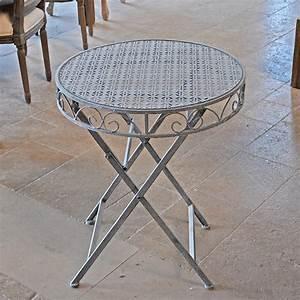Table De Jardin En Fer : table de jardin en fer patinb e gris 74x60cm ~ Teatrodelosmanantiales.com Idées de Décoration