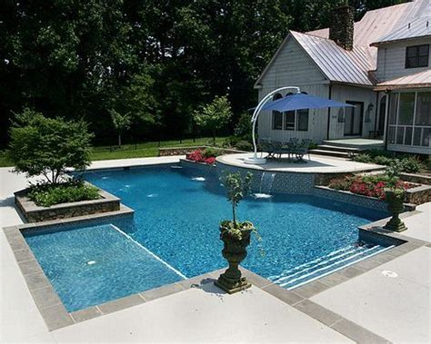 Tanning In The Backyard by Fiberglass Pool With Tanning Ledge Search