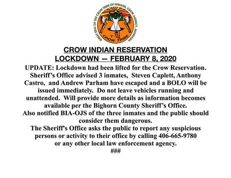 CROW INDIAN RESERVATION LOCKDOWN —... - Crow Tribe of ...