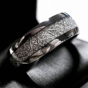 meteorite ring meteorite wedding band meteorite engagement With meteor rock wedding rings